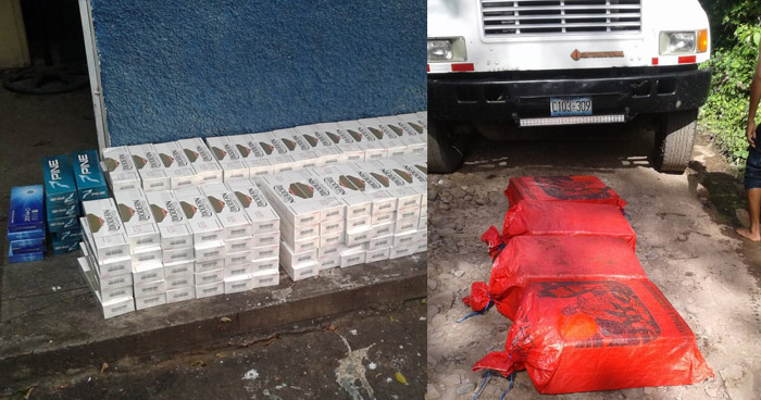Incautan paquetes de cigarros que eran ingresados al país ocultos en un cargamento de arena