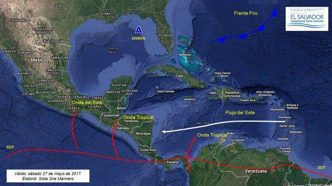 Flujo del Este favorecerá chubascos con énfasis en la zona norte y la zona occidental del país