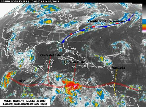 Actividad chubascosa y tormentas aisladas por el paso de la Onda del Este