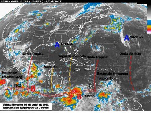 Tormentas dispersas en franja central y norte del país por Vaguada
