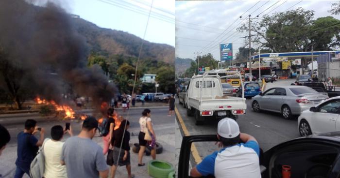 Cierran paso en Autopista a Comalapa, protestan por falta de agua