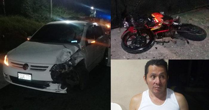 Capturan a conductor ebrio tras protagonizar un accidente en carretera de Cuscatlán
