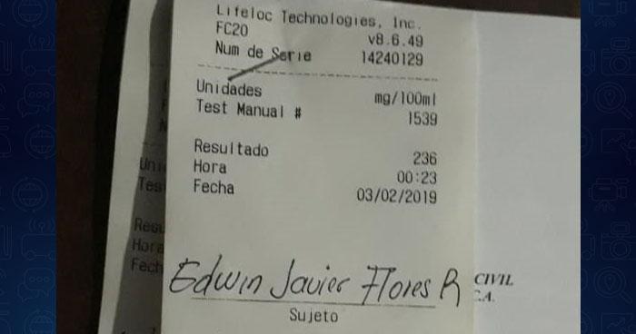 Detienen a conductor con más de 200° de alcohol en Cuscatlán