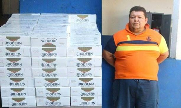 Arrestan a hombre con 300 paquetes de cigarrillos por contrabando de mercadería en Sonsonate