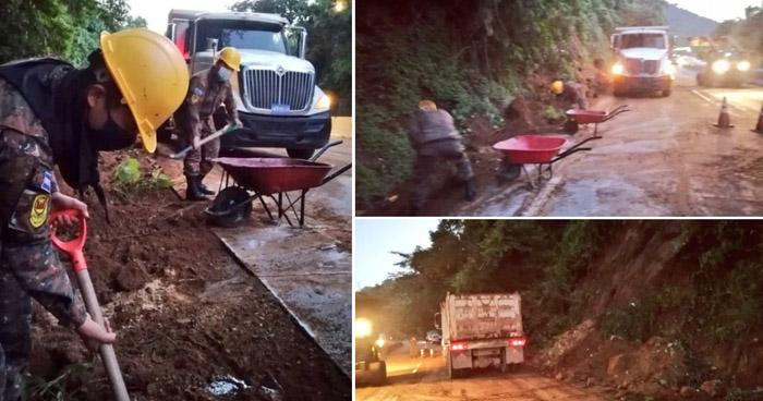 Tres vehículos afectados tras derrumbe en carretera Los Chorros