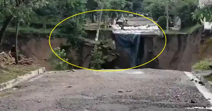 VIDEO | Captan momento exacto de derrumbe en colonia Santa Lucía de Ilopango