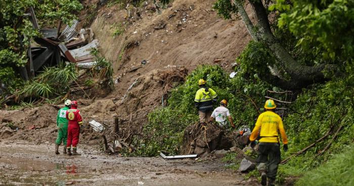 Perros apoyaran búsqueda de familia desaparecida tras derrumbe en Santo Tomás