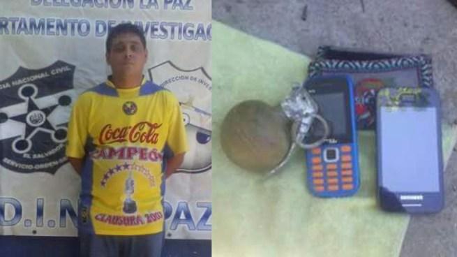 Capturan a pandillero con una granada, pretendía atentar contra PNC de San Juan Talpa