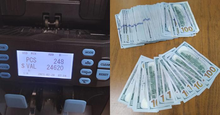 Arrestan a pasajero con $24,620 en efectivo y 4 cheques $5,000 no declarados