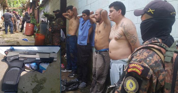 Cuatro pandilleros detenidos tras intercambio de disparos en Santa Tecla