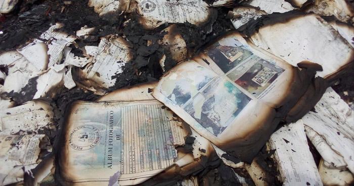 Terreno donde se encontró evidencia destruida de la PNC, esta vinculado a Mauricio Funes