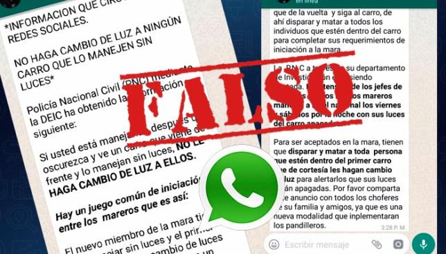 """PNC desmiente advertencia emitida vía Whatsapp sobre """"juego de iniciación entre mareros"""""""