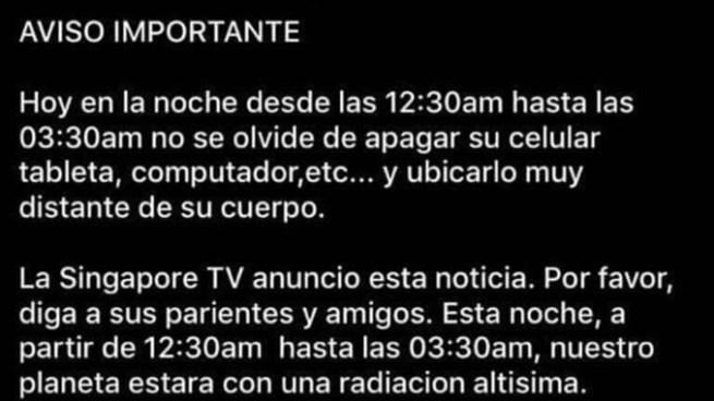 """FALSO: """"Hoy en la noche desde las 12:30am hasta las 03:30am no se olvide de apagar"""""""