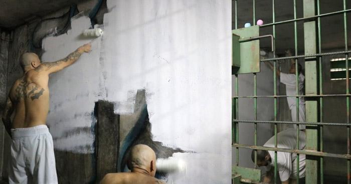 Reos borran grafitis alusivos a pandillas en penal de Zacatecoluca