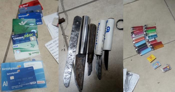 Encuentran 87 wilas, tarjetas de crédito y armas blancas tras requisa en Granjas Penitenciarias
