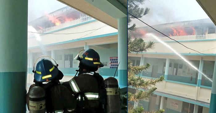 Bomberos atienden incendio en colegio sobre el Paseo General Escalón