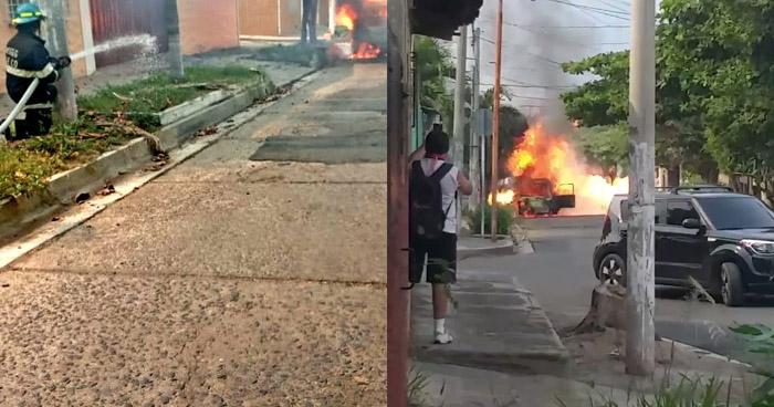 Vehículo repartidor de cilindros de gas en llamas en colonia Ivu de Santa Ana