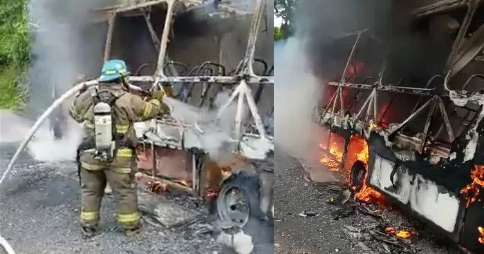Extinguen incendio en autobús cuando circulaba por Ilopango
