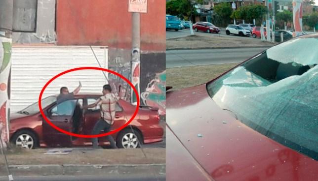 Intolerancia: Tras un choque un hombre saco una macana y destruyo los vidrios del otro carro, sucedió en Calle al Volcán y Bulevar Constitución