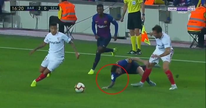 Messi salió lesionado tras aparatosa caída en Barcelona vs Sevilla