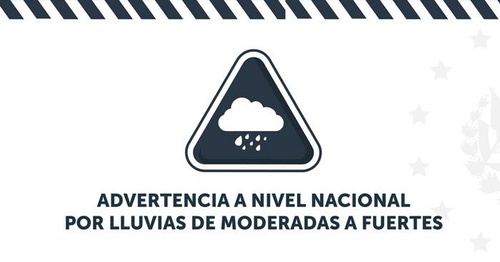 Emiten advertencia a nivel nacional por lluvias