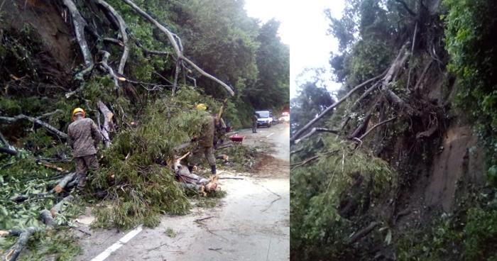 Derrumbe obstruye un carril sentido a occidente en la Carretera Los Chorros