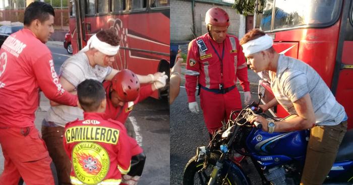 Motociclista ebrio se negaba a ser atendido por socorristas a pesar de estar lesionado