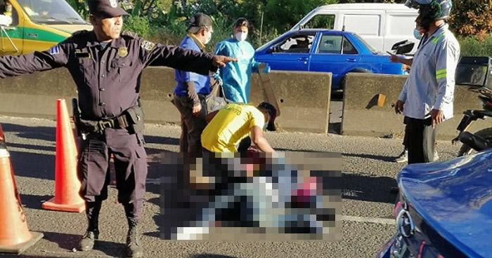 Agente de la PNC lesionado tras accidentarse sobre carretera Panamericana