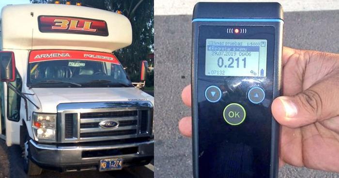 Capturan a motorista de transporte público conduciendo con 211° de alcohol en sangre