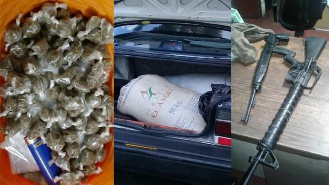 Armas, droga y mercadería incautada tras varios procedimientos en diferentes puntos del país