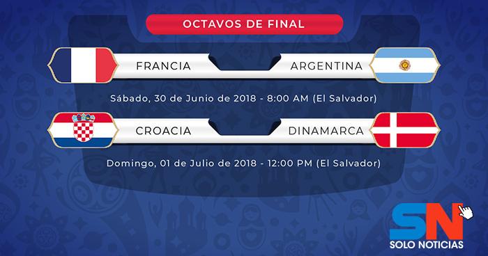 Francia-Argentina, Croacia-Dinamarca las series en octavos de final