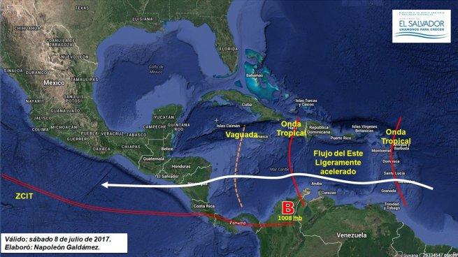 Onda Tropical saldrá del territorio salvadoreño