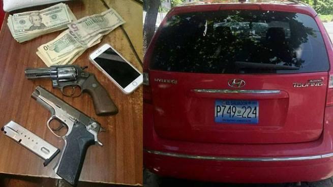 Capturan a pandillero con armas y vehículo robado en Soyapango