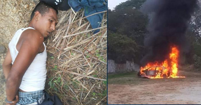 Capturan a pandillero que vigilaba con binoculares la explosión del vehículo en Soyapango