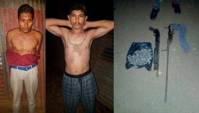 Dos pandilleros, que portaba armas de fuego y varias porciones de droga, fueron capturados en Usulután