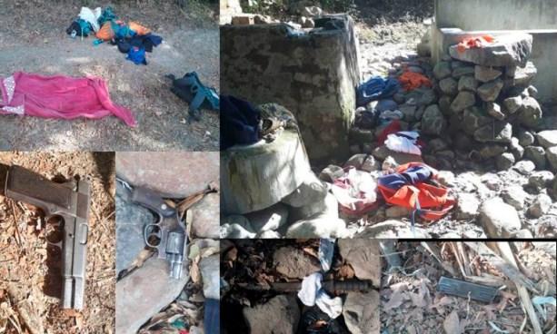Pandilleros huyen tras atacar a equipo STO y abandonan armas de fuego en escondite en Morazan
