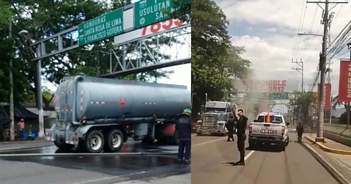 Pipa que transportaban combustible se incendió en carretera Ruta Militar