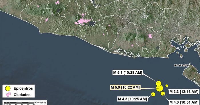 Cuatro réplicas tras fuerte sismo de 5.9 frente a la costa de La Unión