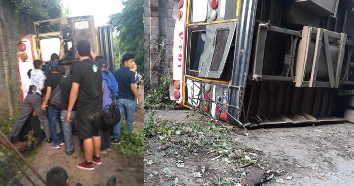 Vuelca bus de la ruta 104 en la carretera hacia Comasagua tras perder los frenos