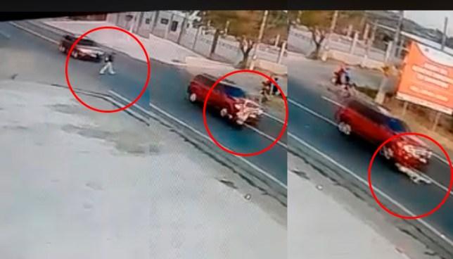 Camara de seguridad capta el momento justo donde un señor es arrollado en San Miguel