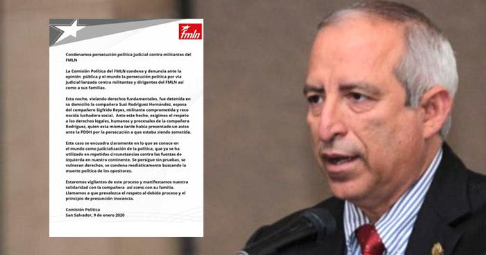 """FMLN califica de """"persecución política"""" el caso contra Sigfrido Reyes y su familia"""