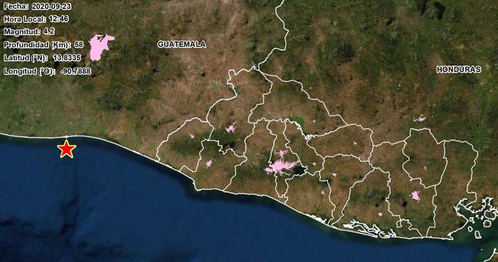Sismo de 4.2 sacudió este miércoles la costa occidental del país