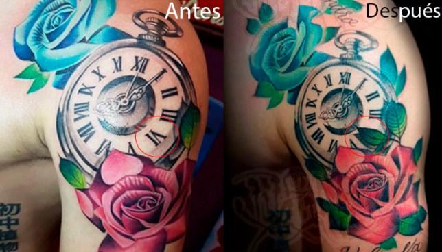 Así quedo el arreglo del tatuaje de Fito Zelaya tras el error