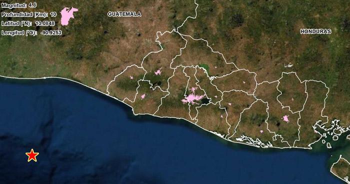 Sismo de 4.8 sacudió esta tarde la costa del occidente del país