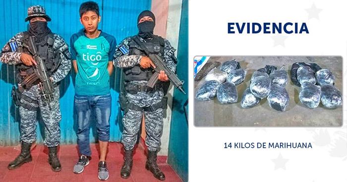 Capturado con 14 kilos de marihuana en La Libertad