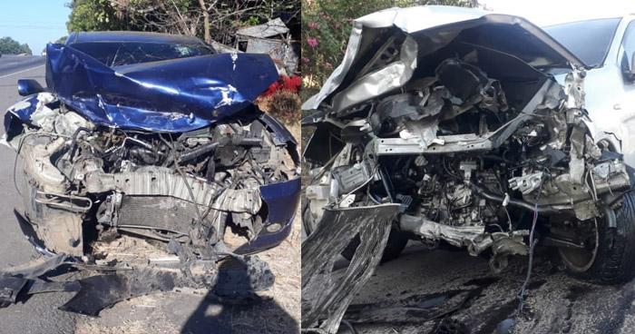 Dos lesionados en triple choque sobre carretera Bypass de Usulután