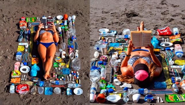 Turista lee un libro en una toalla hecha de basura, que recogió en la Playa El Tunco