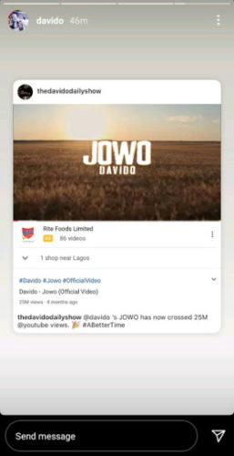 "Davido Excited as His ""Jowo"" Single Reaches Achieves a Milestone on YouTube"