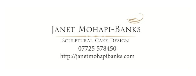 Sculptural cake design by Janet Mohapi-Bank, swing tag printing by Solopress