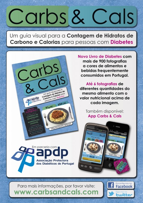 Solopress flyer for the Portuguese edition of Carbs & Cals book and app